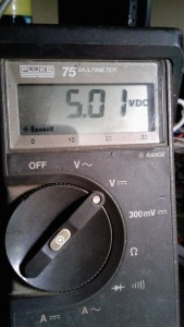 Fluke multimeter says: 5.01 VDC with the PS 250 set for 5.00 VDC on its internal metering. Quite acceptable.